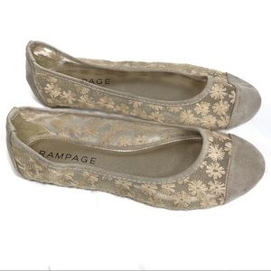 New Women's Rampage Lace and Suede Ballet Flats